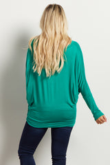Emerald Green Basic Long Sleeve Maternity Top