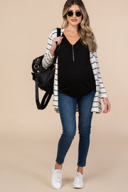 PinkBlush Black Zipper Front Maternity Top
