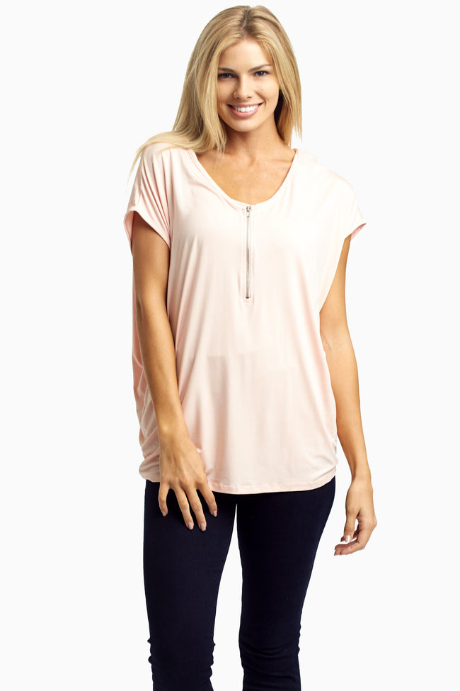Pale Pink Zip Front Maternity Top
