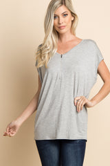 Grey Zipper Front Maternity Top