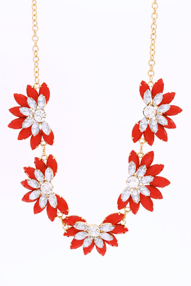 Red Floral Jewel Rhinestone Necklace