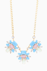 Light Blue Pink Mint Jewel Bib Necklace/Earring Set