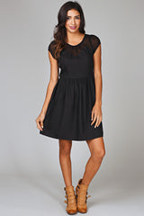 Black Sheer Top Babydoll Dress