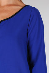 Royal Blue Black Colorblock Chiffon Blouse