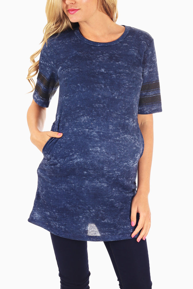 Navy Blue Striped Sleeve Maternity Tunic