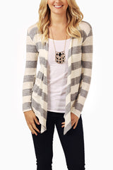 Grey White Striped Cardigan