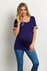 Navy Tribal Embroidered Sleeve Maternity Top