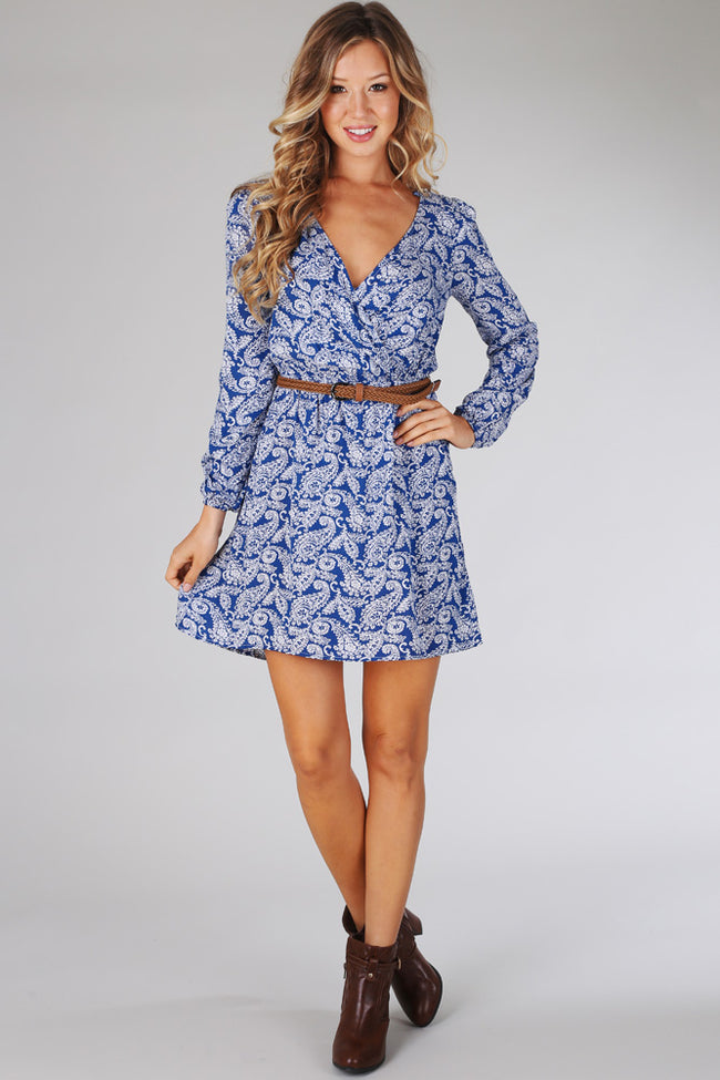 Blue White Paisley Print Belted Dress