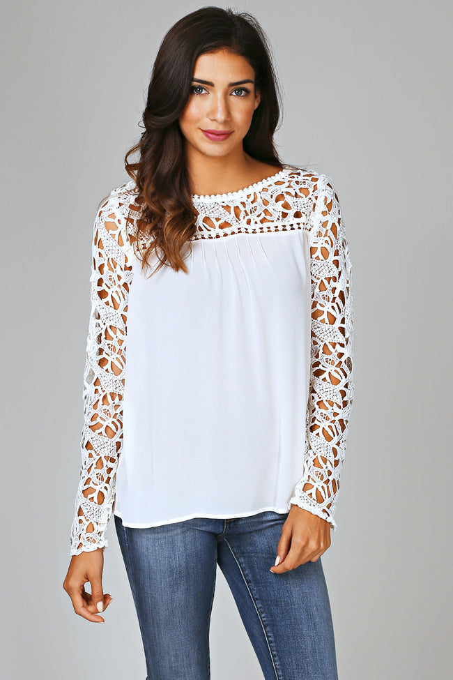 Ivory Chiffon Crochet Top Blouse