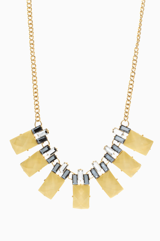 Pale Yellow Grey Geometric Jeweled Necklace/Earring Set