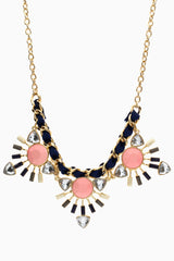 Navy Blue Ribbon Pink Gemstone Necklace/Earring Set