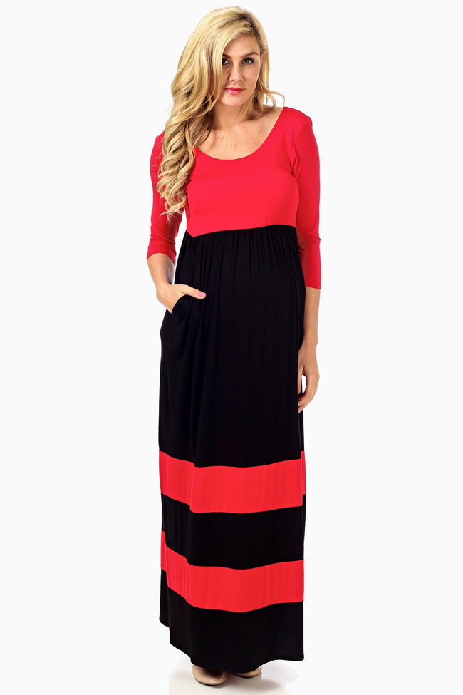 Red Black Striped Colorblock Maternity Maxi Dress