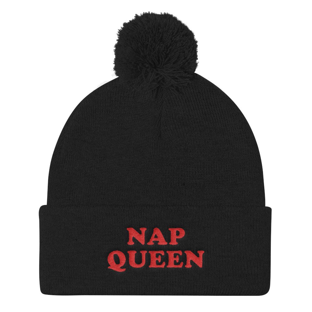 Nap Queen Pom Pom Knit Cap - Tee Gurls