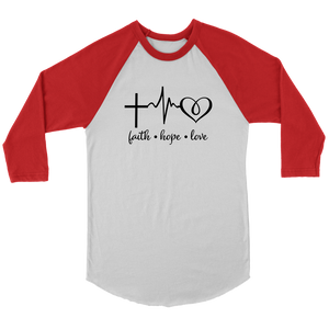 Faith Hope Love Baseball Tee - The Praying Woman