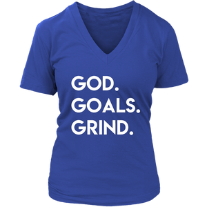 God Goals Grind V-Neck - The Praying Woman