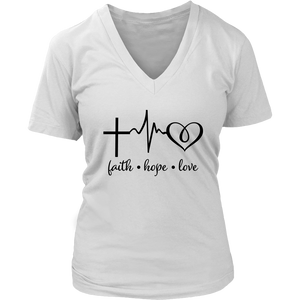 Faith Hope Love V-Neck - The Praying Woman