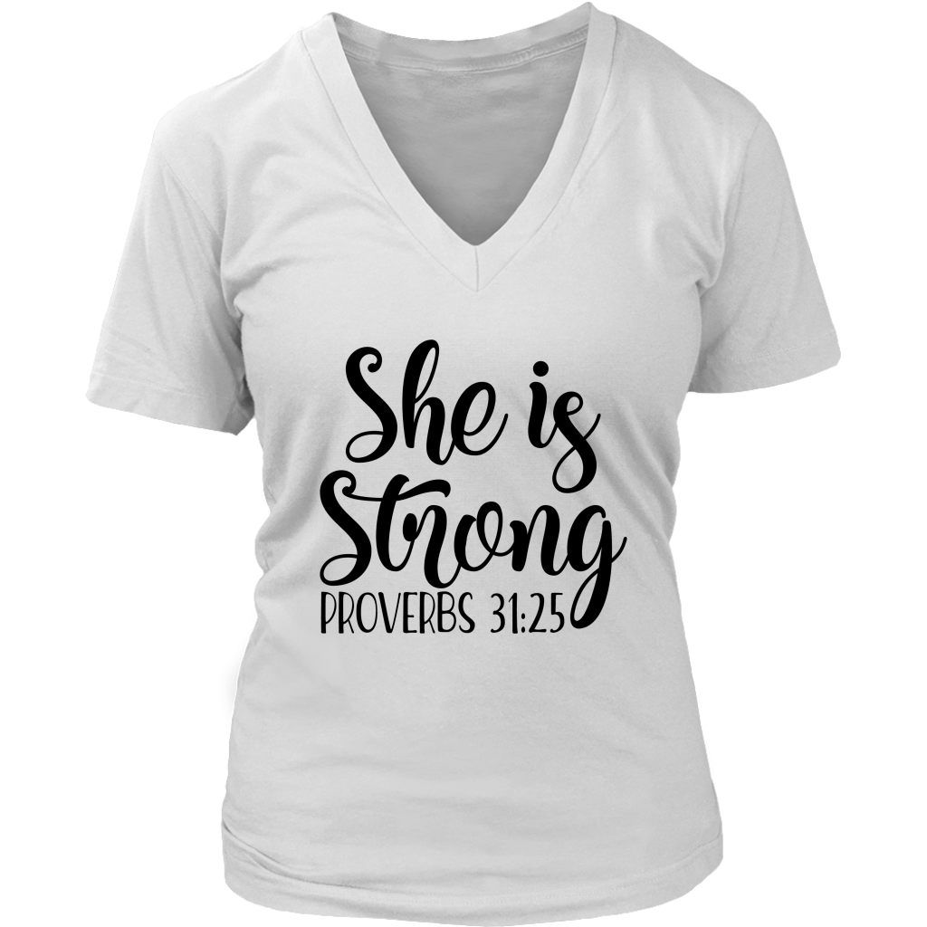 She is Strong Short Sleeve V-Neck Tee