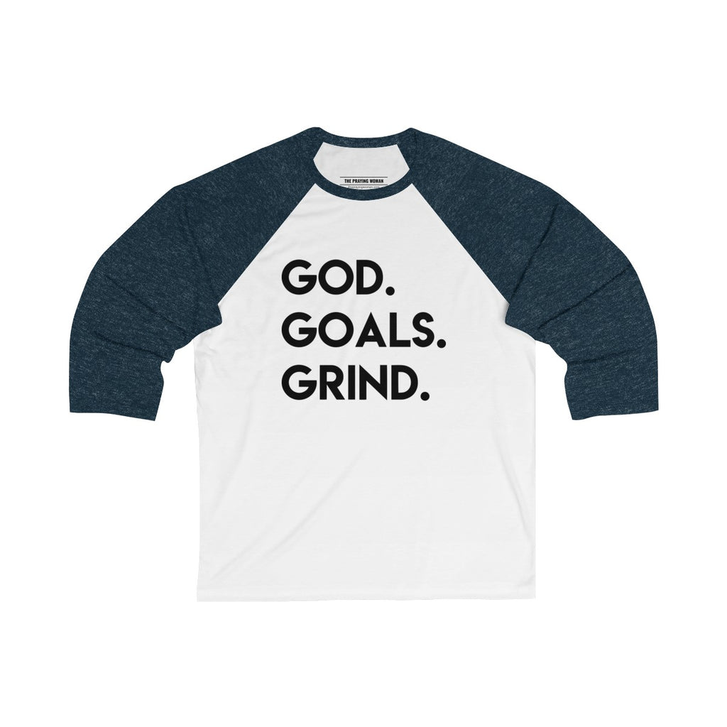 God Goals Grind Baseball Tee