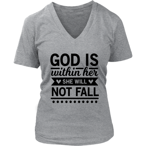 God is Within Her V-Neck T-Shirt