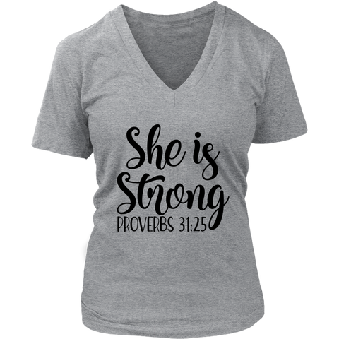 She is Strong V-Neck T-Shirt