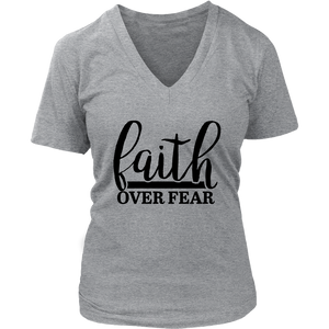 Faith Over Fear Short Sleeve V-Neck Tee