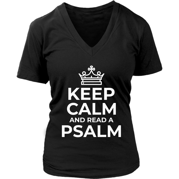 Keep Calm and Read a Psalm V-Neck - Pretty Praise