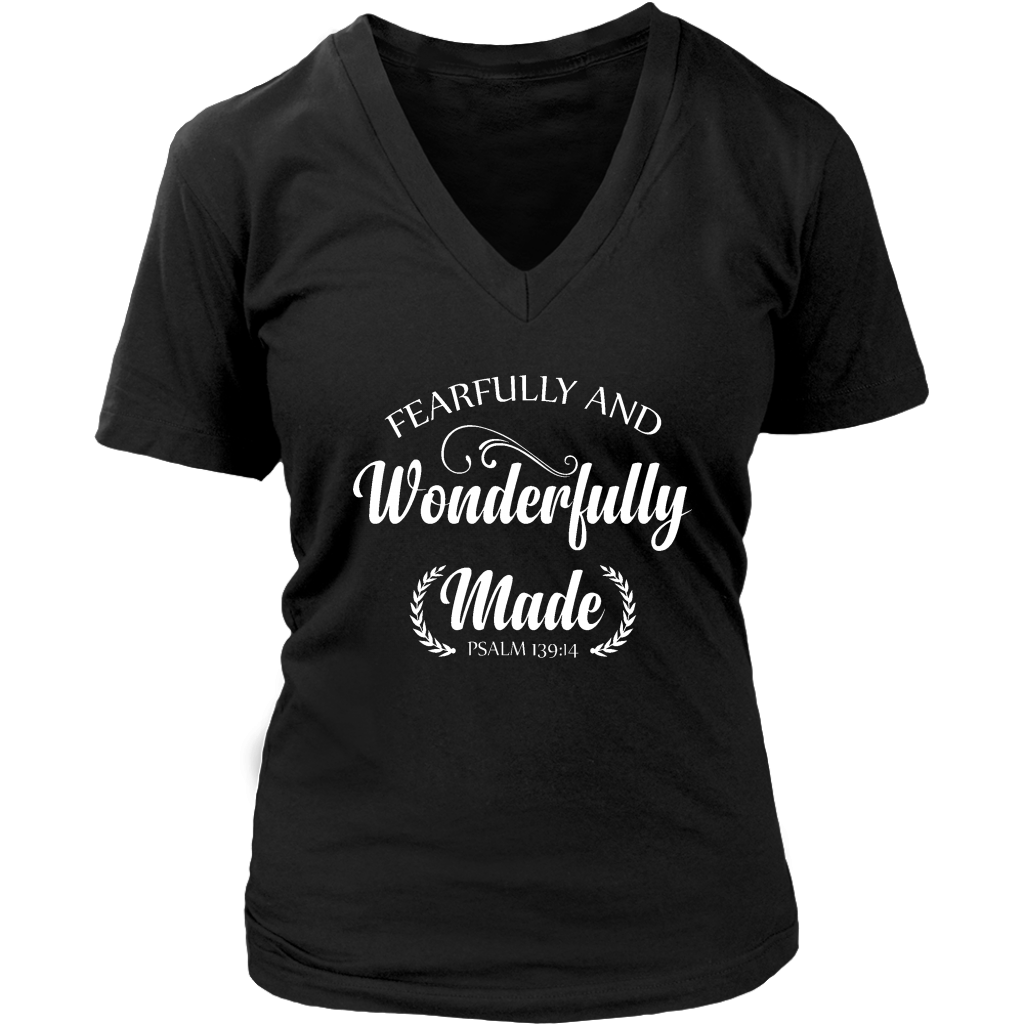 Fearfully and Wonderfully Made Short Sleeve V-Neck Tee
