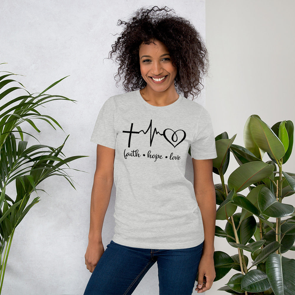 Faith Hope Love Short Sleeve T-Shirt - The Praying Woman