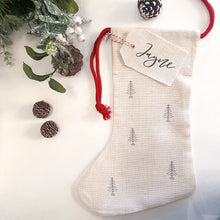 Load image into Gallery viewer, Personalised Linen Christmas Stocking - Christmas Tree