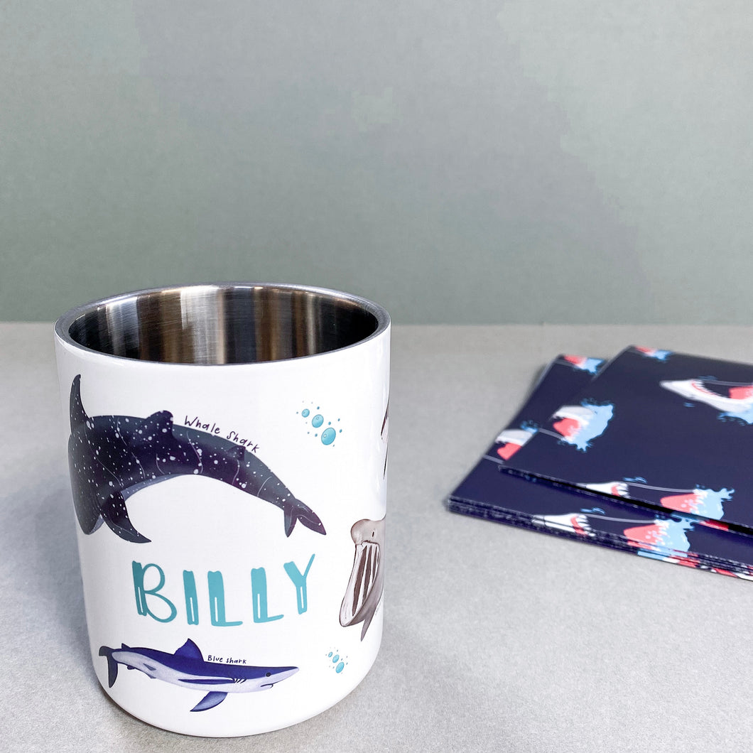 Personalised Stainless Steel Mug Shark Mug