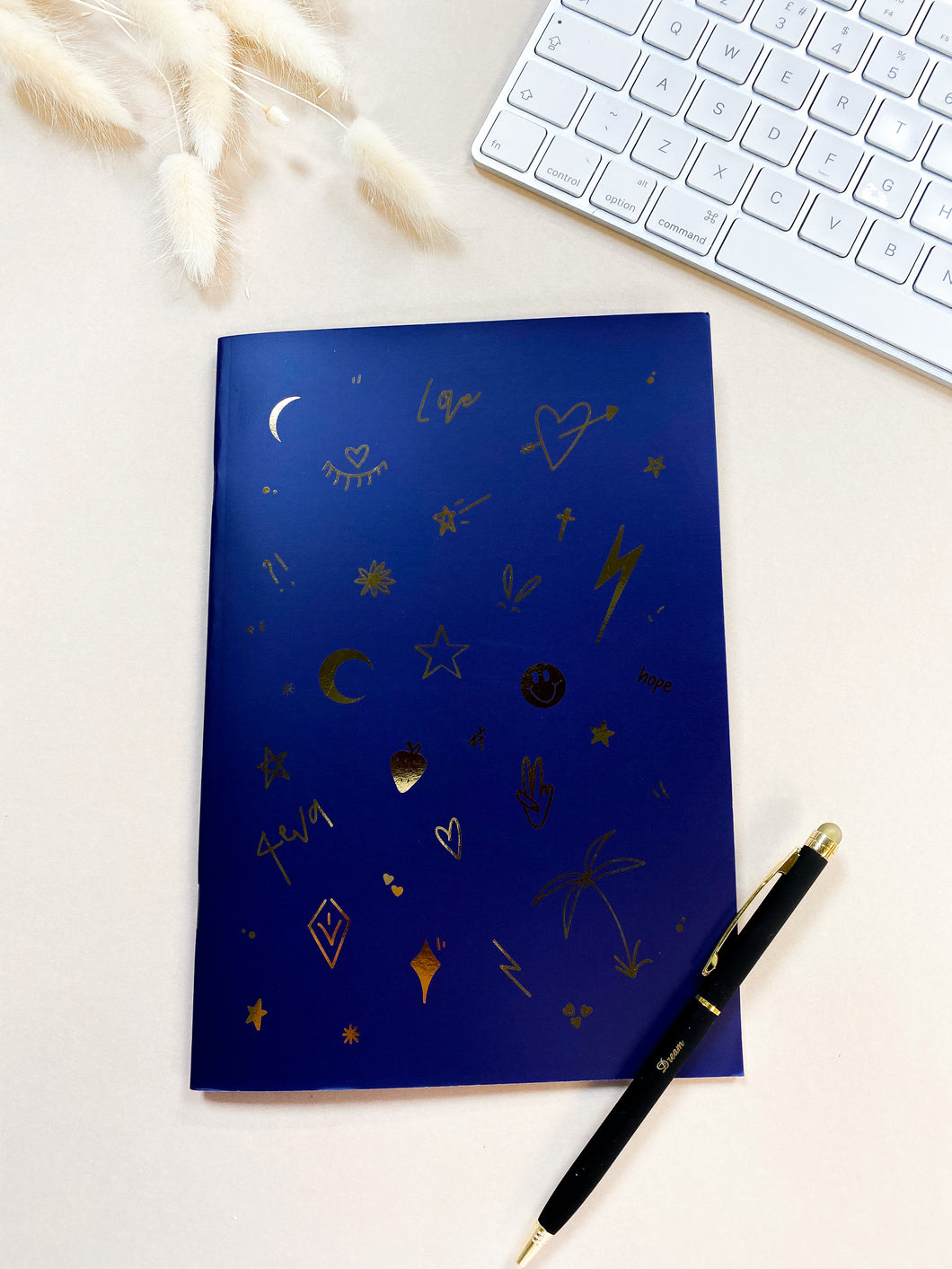 Blue Foiled Illustrated Notebook
