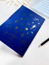 Load image into Gallery viewer, Blue Foiled Illustrated Notebook