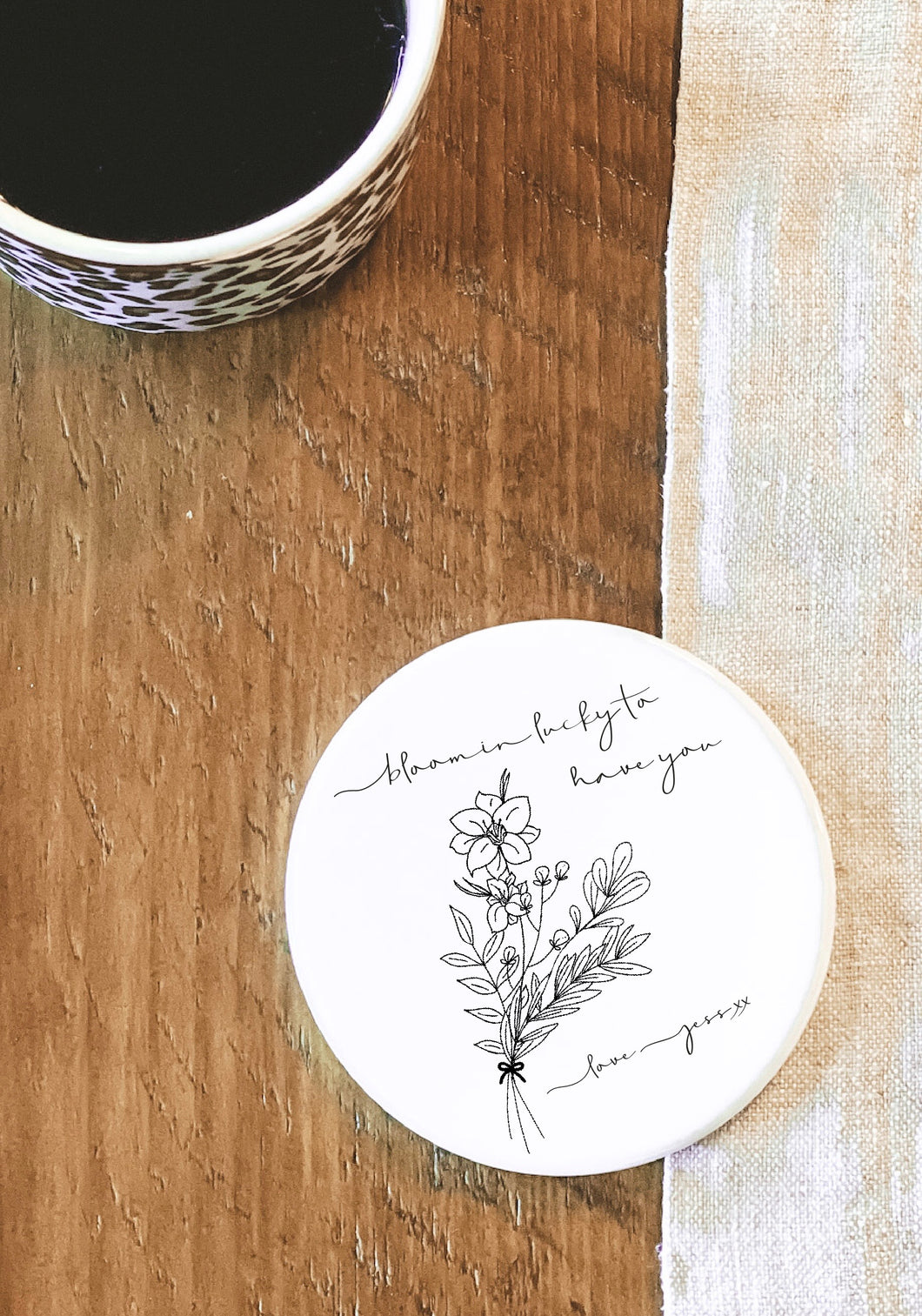 Personalised Botanical Ceramic Coaster