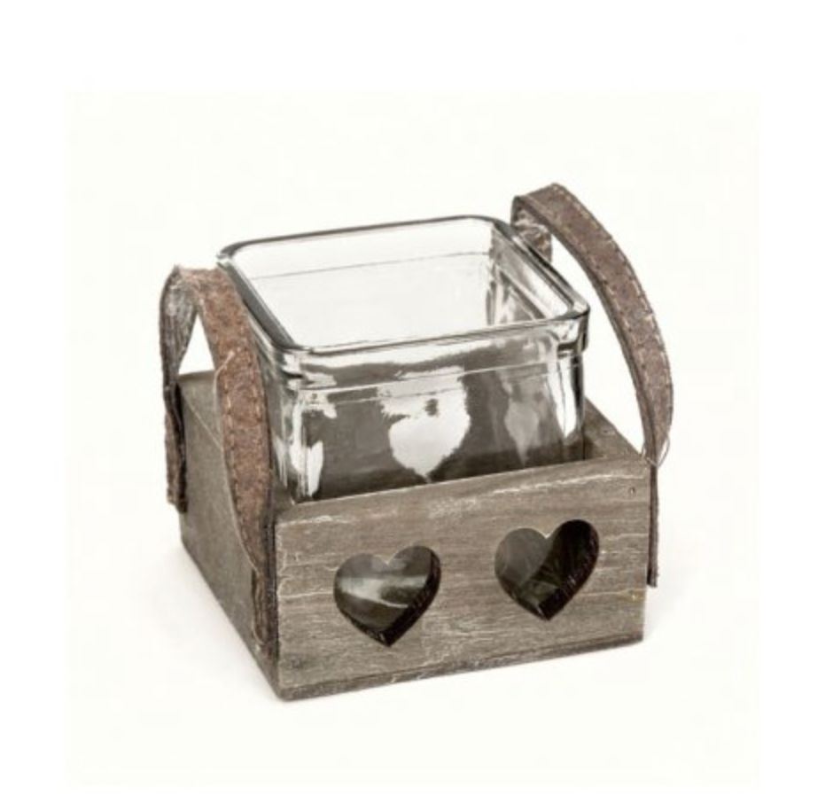 Glass Candle Pot with Wooden Heart Tray