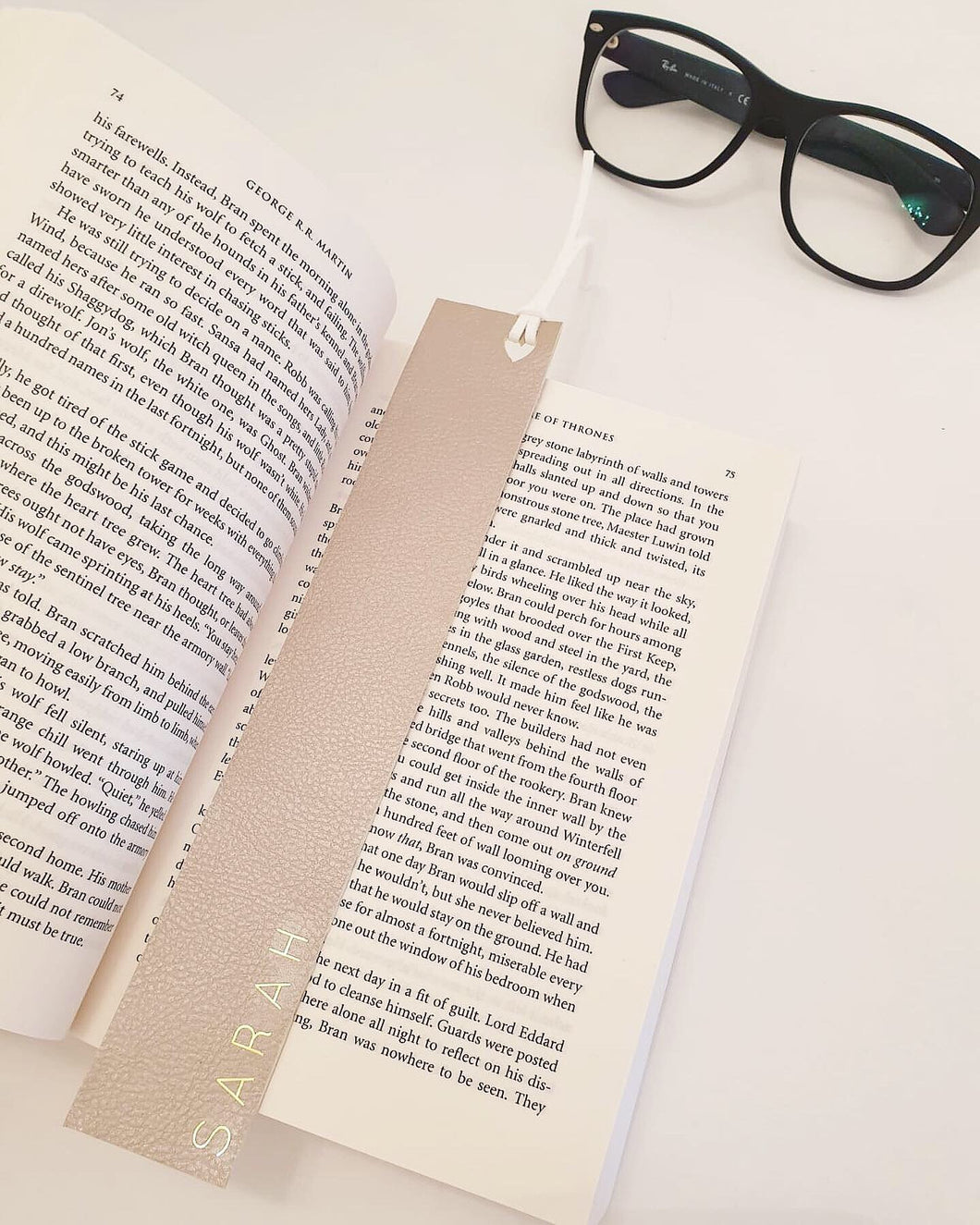 Personalised Beige Faux Leather Bookmark