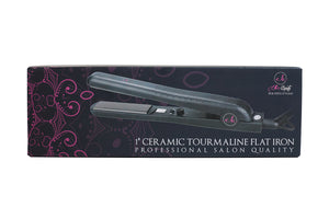 "Ella's Boutique 1"" Ceramic Tourmaline Ionic Flat Iron Hair Straightener 
