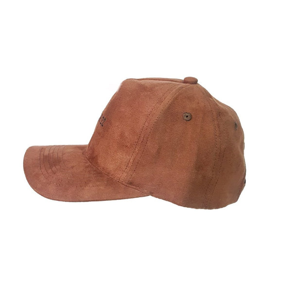 SUEDE TRUCKER CAP - BROWN
