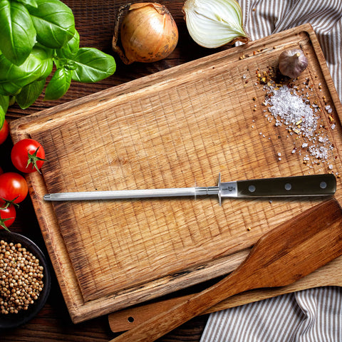 KUMA Kitchen Knife Sharpener - USER FRIENDLY - 8 Inch Steel Honing Rod for Sharpening your Chef's Knife