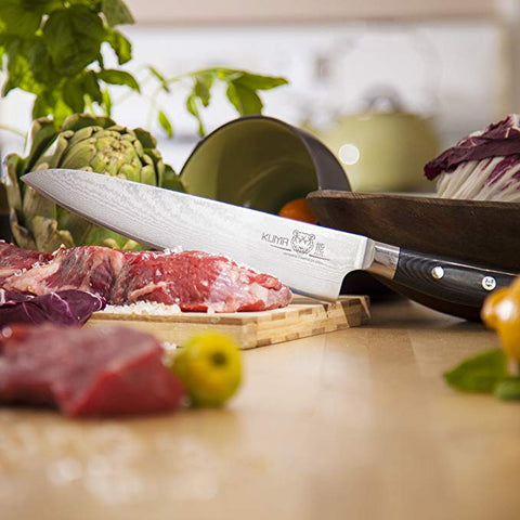 "KUMA Premium Damascus Chef Knife - 8"" Hardened Japanese Carbon Steel Kitchen Knife - Professional Edition"