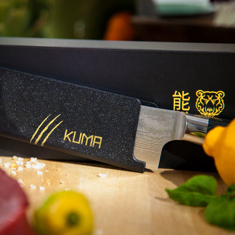 "KUMA Japanese Damascus Chef Knife - 8"" Premium Hardened AUS10 Steel"