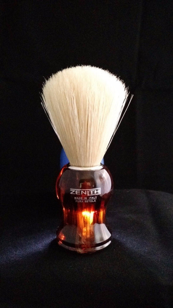 Plastic Tortoise Handle Boar Shave Brush by Zenith. 21x57mm Knot. B6