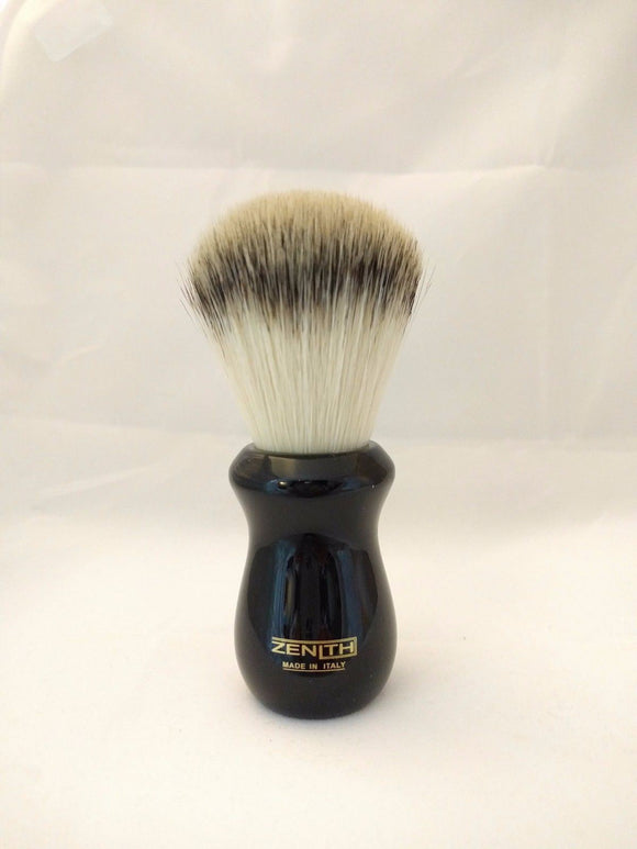 Zenith Ergo Resin Handle Synthetic Black Shave Brush. 26mm. S10