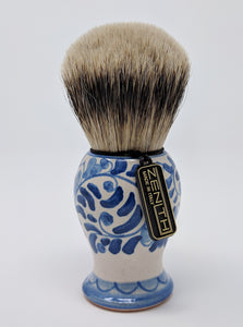 Handcrafted Sicilian Ceramic Silvertip Badger Brush by Zenith. 28mm Knot. P5