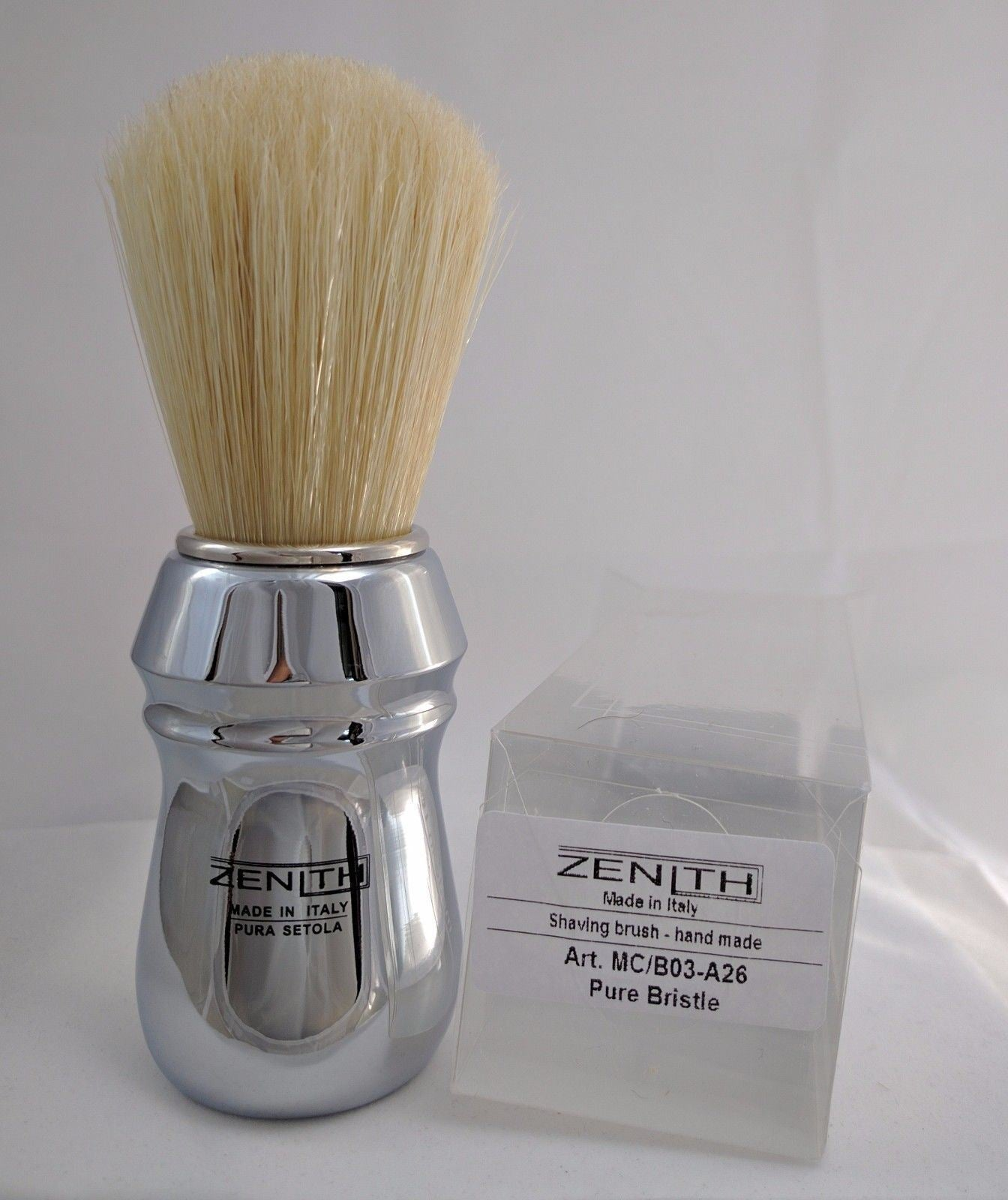 All Metal Chromed Big Boar Shave Brush By Zenith 26x57mm B19 The Gentle Shave