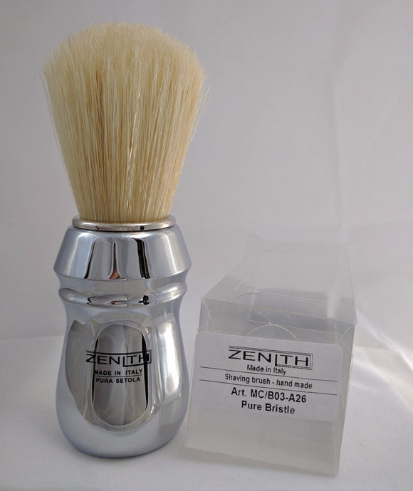 All Metal Chromed Big Boar Shave Brush By Zenith. 26x57mm  B19