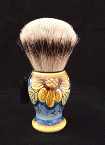 Handcrafted Sicilian Ceramic Silvertip Badger Brush by Zenith. Flower Design. 28mm Knot. P7