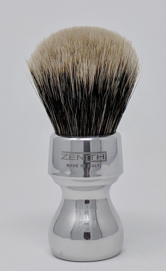 Short Retro Aluminum Handle Manchurian Two Band Brush by Zenith 27.5mm M17