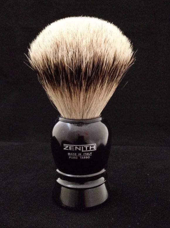 Black Plastic Silvertip Shave Brush by Zenith 24.5mm. P10