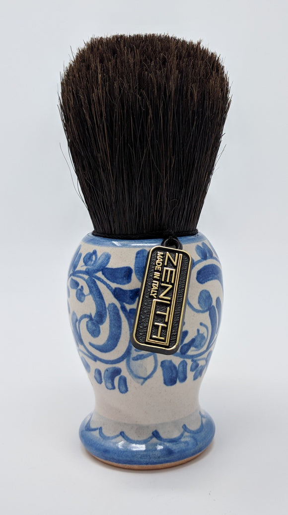 Handcrafted Sicilian Ceramic Horse Hair Brush by Zenith. 28mm Knot. H6