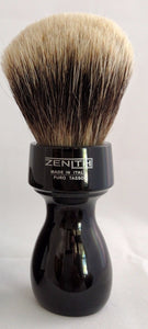 Retro Resin Manchurian by Zenith. 27.5x51 mm. Two Band Badger. Black Italia M10